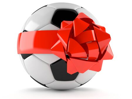 Soccer ball with ribbon isolated on white background Stock Photo