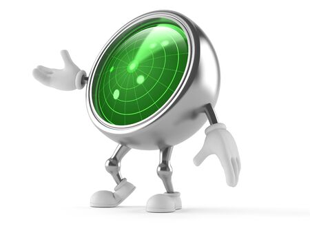 Radar character isolated on white background