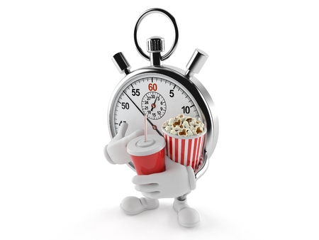 Stopwatch character with popcorn isolated on white background