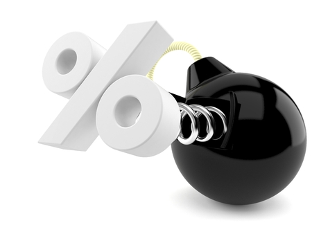 Percent symbol and bomb isolated on white background