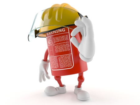 Fire extinguisher character with ok gesture on white background