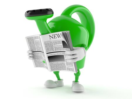 Watering can character reading newspaper on white background Stock Photo