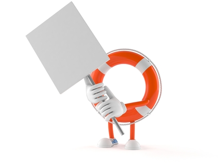 Life buoy character with signboard isolated on white background