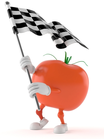 Tomato character with racing flag isolated on white background Stock Photo