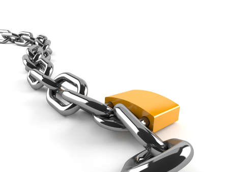 Chain with padlock isolated on white background