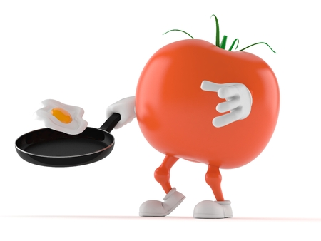 Tomato character with frying pan isolated on white background