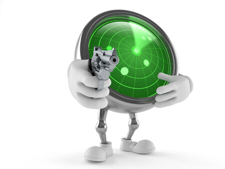 Radar character aiming a gun isolated on white background Stock Photo