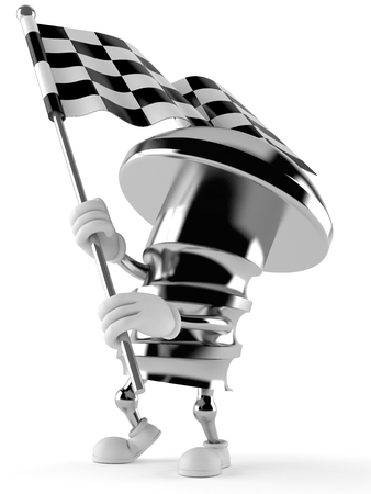 Bolt character with racing flag isolated on white background