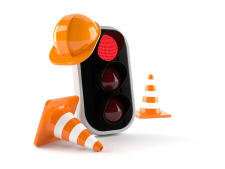 Traffic controller with traffic cones isolated on white background