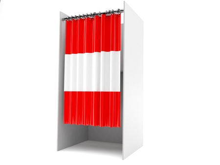 Vote cabinet with austria flag isolated on white background Banco de Imagens