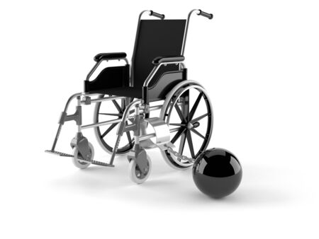 Wheelchair with chain isolated on white background