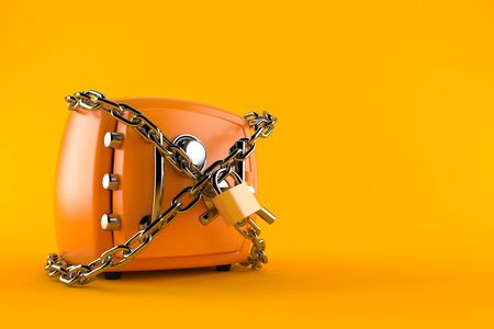Safe with chain isolated on orange background Stock Photo