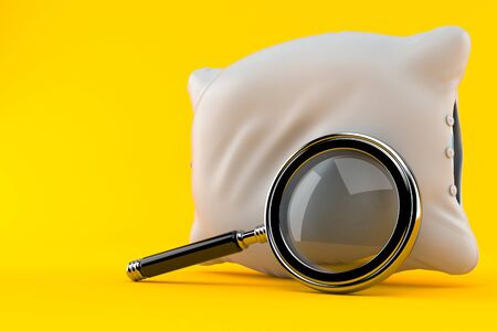 Pillow with magnifying glass isolated on orange background Stock Photo