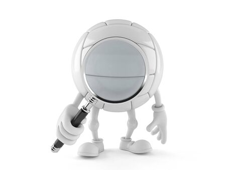 Volleyball character looking through magnifying glass isolated on white background Stock Photo
