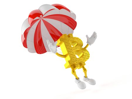 Bitcoin character with parachute isolated on white background Stock Photo