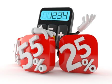 Calculator character behind percentage signs isolated on white background Stock Photo