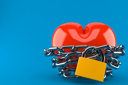 Heart with chain and padlock isolated on blue background