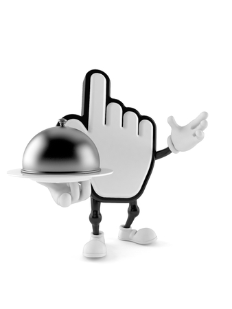 Cursor character holding catering dome isolated on white background
