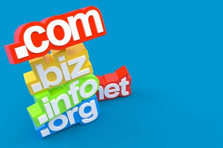 Domains name isolated on blue background