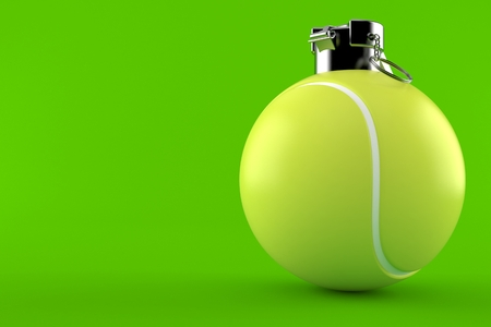 Tennis grenade concept isolated on green background