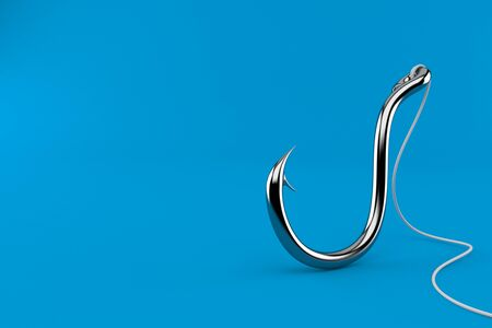 Fishing hook isolated on blue background