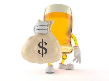 Beer character holding money bag isolated on white background