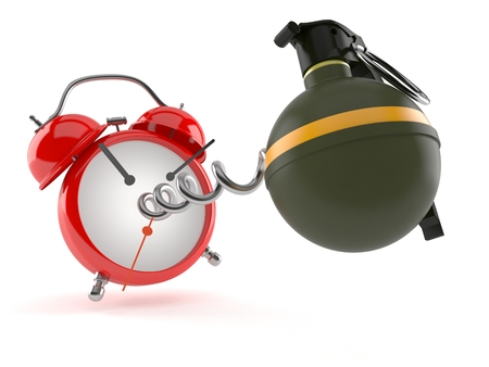 Hand grenade with alarm clock isolated on white background Stock Photo