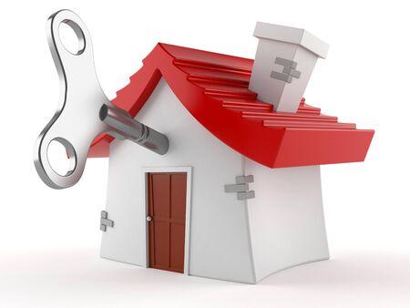 House with clockwork key isolated on white background