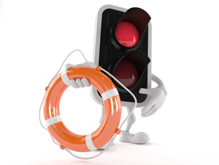 Red light character holding life buoy isolated on white background