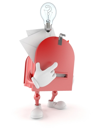 Mailbox character thinking on white background
