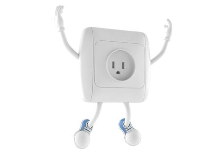 Outlet character jumping on white background