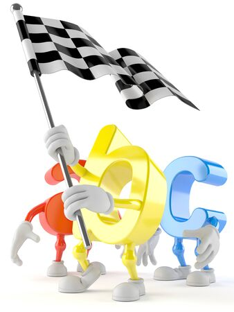 ABC character with race flag isolated on white background Stock Photo