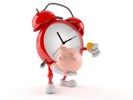 Alarm clock character holding piggy bank isolated on white background