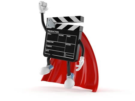 Film slate character with hero cape isolated on white background Stock Photo