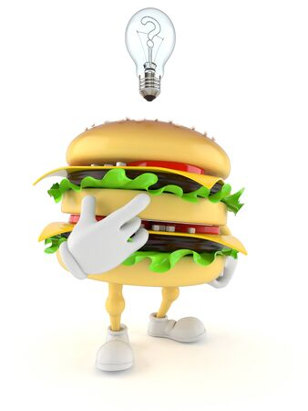 Hamburger character thinking on white background