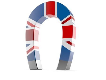 Magnet with UK flag isolated on white background Foto de archivo