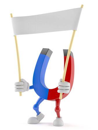 Horseshoe magnet character holding blank banner isolated on white background