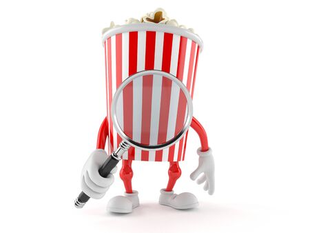 Popcorn character with magnifying glass isolated on white background Stock Photo