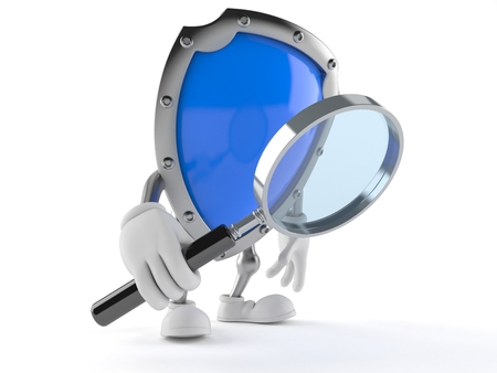 Shield character looking through magnifying glass isolated on white background