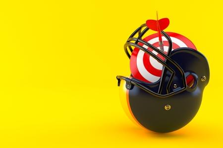 Football helmet with bulls eye isolated on orange background