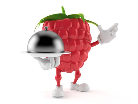 Raspberry character holding catering dome isolated on white background