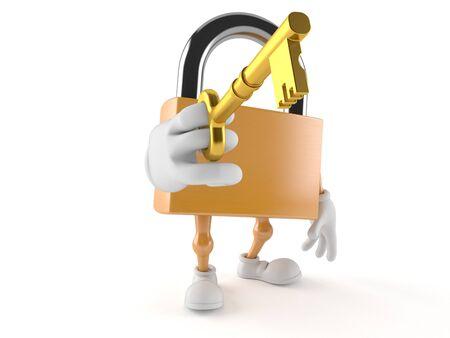 Padlock character holding door key isolated on white background