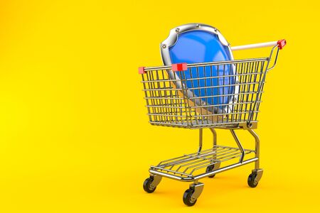 Shopping cart with shield isolated on orange background