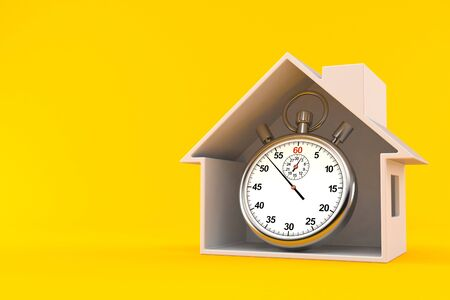 House cross section with stopwatch isolated on orange background