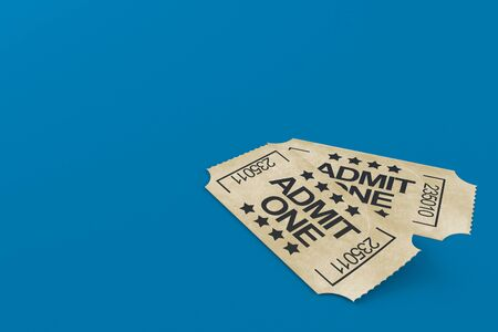 Tickets isolated on blue background