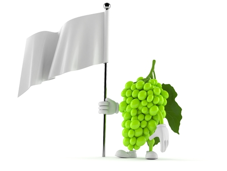 Grapes character holding blank flag isolated on white background