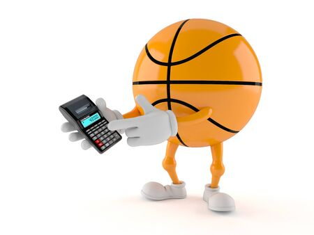 Basketball character using calculator isolated on white background