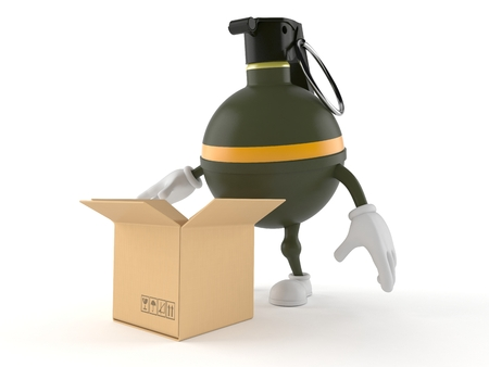 Hand grenade character with open box isolated on white background Stock Photo