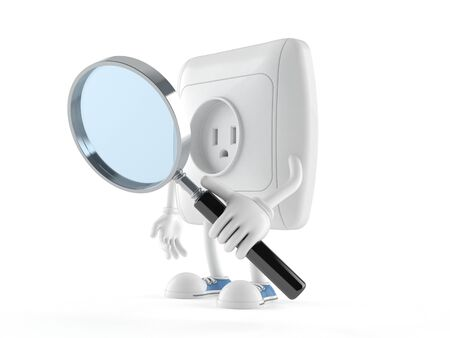 Outlet character looking through magnifying glass isolated on white background Stock Photo