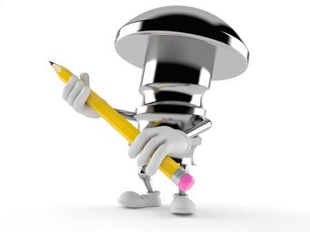 Bolt character holding pencil on white background